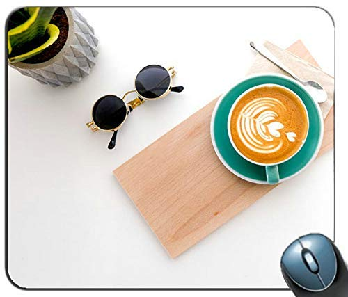 Cup of Latte on Wooden Tray Personalized Rectangle Mouse Pad Printed Nonslip Rubber Comfortable Customized Computer Mouse Pad Mouse Mat Mousepad ()