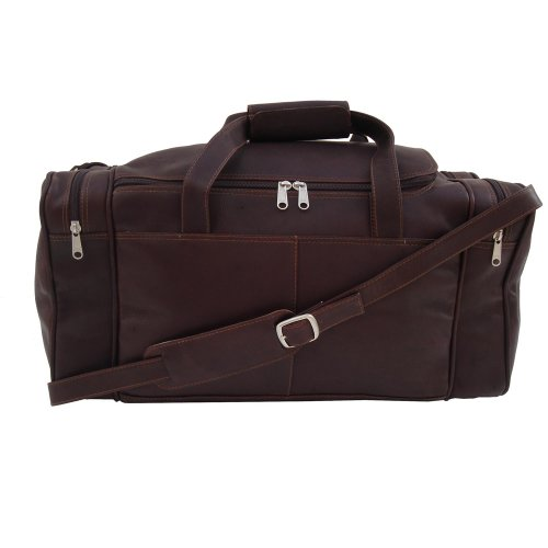Piel Leather Small Duffel Bag, Chocolate, One Size by Piel Leather