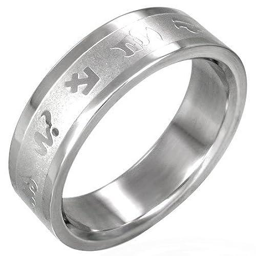 316L Stainless Steel Zodiac Symbol Astrology Horoscope Ring