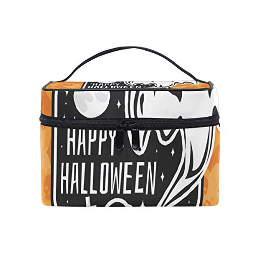 OREZI Halloween Vintage Badge Cosmetic Bag Large Multifunction Makeup Travel Toiletry Travel Kit Organizer Case with Quality Zipper Portable for Makeup Bag for Women ()