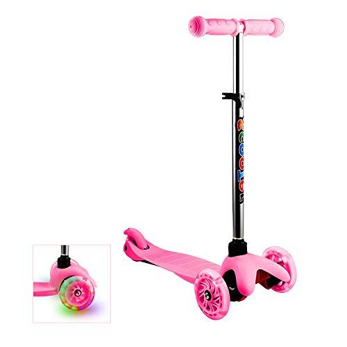Aceshin Mini Kick Scooter Kids 3 Wheel, LED Light-Up Wheels, Lean to Steer, 4 Adjustable Height, 3 Year Old