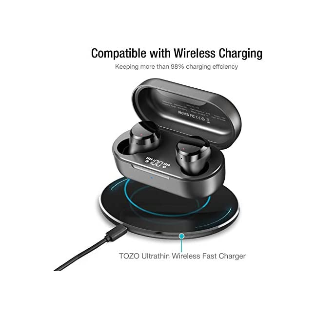 TOZO T12 Wireless Earbuds Bluetooth Headphones HiFi Sound Quality and Wireless Charging Case Digital Intelligence LED Display IPX8 Waterproof Earphones Built-in Mic Headset Deep Bass for Sport Black