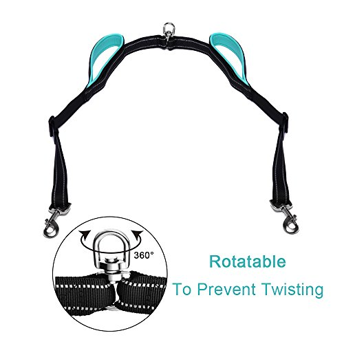 Large Double Dog Leash Retractable No Tangle Padded Handle Dual Dogs Coupler Adjustable Splitter Lead for 2 Dogs