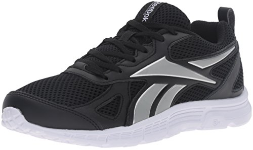 Reebok Women's Supreme Spt Lthr Running Shoe, Black/Silver Metallic/White, 6.5 M US