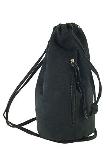 Maid Suede LONI Womens Backpack Leather Handbag Faux in Crossbody Manc Black Bag Shoulder Drawstring vr5qv