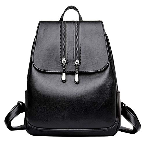 DZTZ Fashion Shoulder Bag Rucksack PU Leather Women Girls Ladies Backpack Travel Bag (Black)