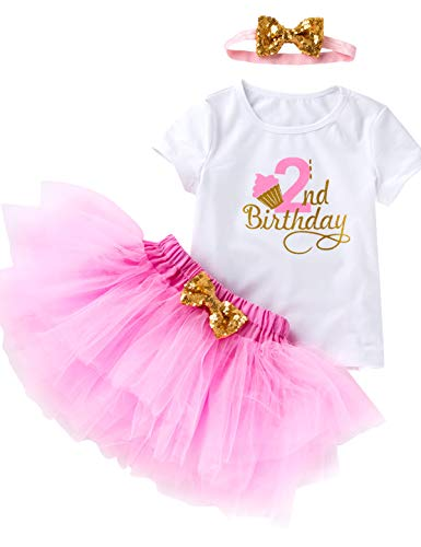 3Pcs Outfit Set Baby Girls Two Year Old Birthday Lace Tutu Shirt Skirt with Headband (Pink 2nd, 3T)]()