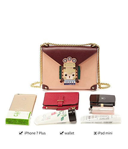 Nappa Crossbody EMINI Women Padlock Strap for Flap Bag Chain Chain pink Style Bags HOUSE Medium Purse Niche Leather Indian with Padlock Chic Shoulder wrrx5qX