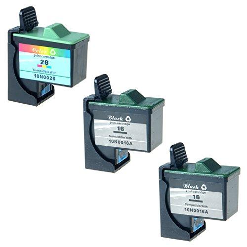 AMTONER Remanufactured for 3 Pack Ink Cartridge Set Inkjet - 410 Page, 275 Page 10N0202 (#16/#26) Z13 Z23 Z25 Z33 Z35 Z515 Z605 Z611 Z616 Z645 Z75 X1150 X1185 X1270 Black/Color Ink Combo Pack