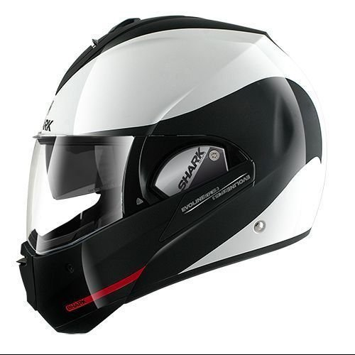 Shark HE9352DWKRL Unisex-Adult Full Face Evoline 3 Hakka Helmet (White Black Red, Large) (Face Shark Helmet)