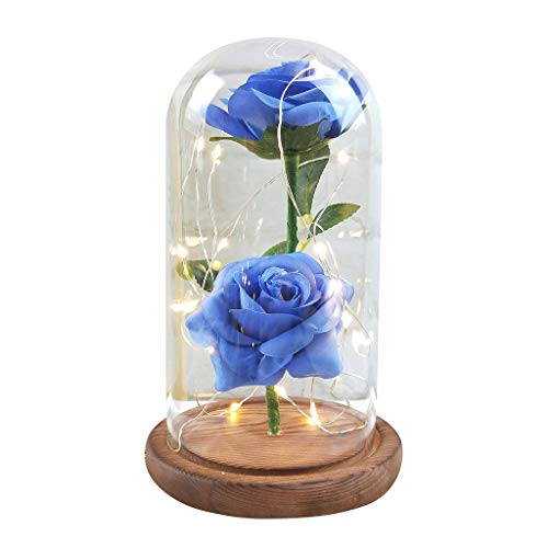 Pulison Romantic Glass Rose Led Decoration Festival Birthday Gift Romantic Simulation Rose Glass Cover Led Micro Landscape (Blue)