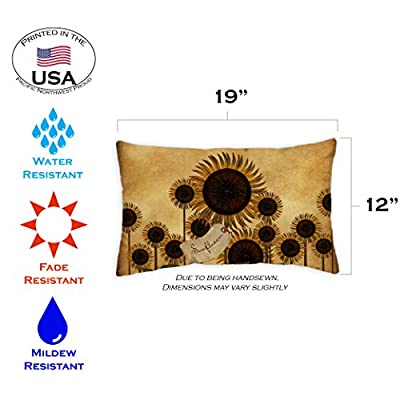 Toland Home Garden 771284 Folk Sunflower 12 x 19 Inch Indoor/Outdoor, Pillow Case (2-Pack) : Garden & Outdoor