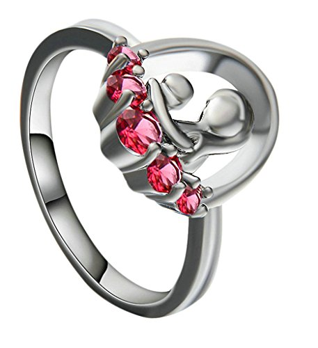 Gnzoe Jewelry, Wedding Ring for Women, Red with Zircon Anniversary Engagement Ring Size 8 (Kids Fancy Dress Next Day Delivery)