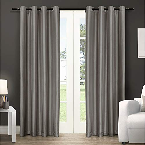Silk Silver Black Stripe - Exclusive Home Curtains Chatra Faux Silk Window Curtain Panel Pair with Grommet Top, 54x84, Silver Cloud, 2 Piece