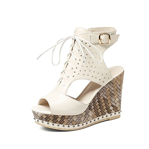 Shoes 11cm Size Heeled Head Summer Waterproof Slope Heels Fish Sandals amp; High Leather Black High Sandals 35 Color Thick Lace White Platforms High Female qTpqaw1