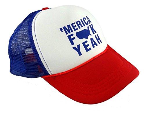 Merica Trucker Hat (Funny Guy Mugs Merica FCK Yeah Trucker Hat - Adult - Unisex -)