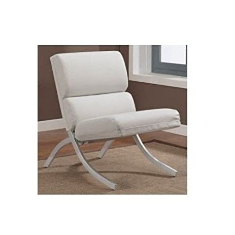 white bonded leather accent chair