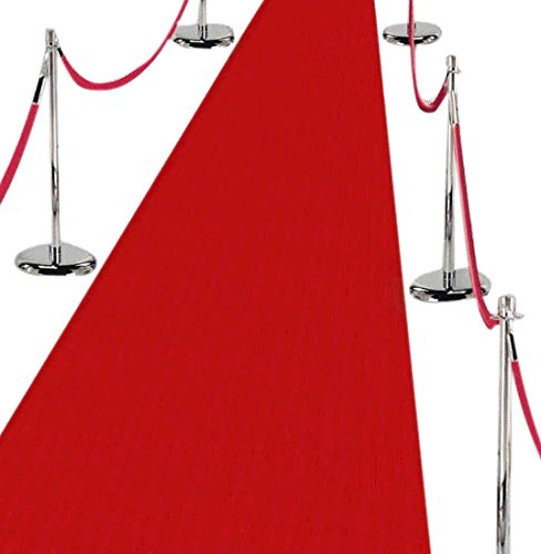 Amscan Fabric Aisle Runner Carpet for Formal Functions x 6 Packs Redcarpet Supplies, Red, 40' x 36''