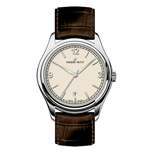 Pierre Petit P-837B Swiss Leather-Band Watch - Silver/Brown
