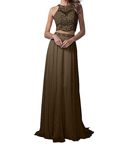 Braun Chiffon La Linie Marie Perlen A Abendkleider Braut Rock Partykleider Zwei teilig Promkleider Langes Ow4qPpzw