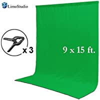 LimoStudio 9 x 15 ft. Green Chromakey Muslin Backdrop Background Screen for Photo Video Studio, 3 x Backdrop Clamp, AGG1777