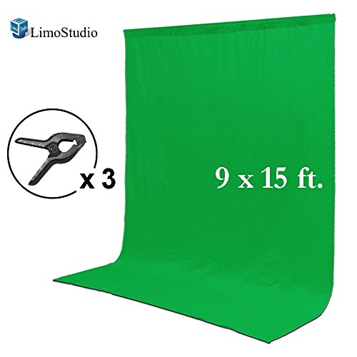 LimoStudio 9 x 15 ft. Green Chromakey Muslin Backdrop Background Screen for Photo Video Studio, 3 x Backdrop Clamp, AGG1777 by LimoStudio