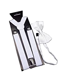 MENDENG Men's White Tuxedo Suspender Bow Tie Set Elastic Adjustable Suspenders