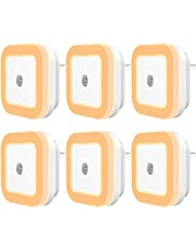 UK Plug-in LED Night Light with Dusk-to-Dawn Sensor for Bedroom, Bathroom, Kitchen, Hallway, Stairs, Warm White, 6-Pack