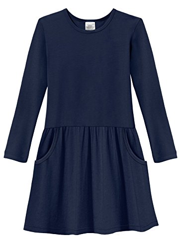 City Threads Little Girls' Drop Waist French Party Dress in All Cotton - Sensitive Skin and Sensory Friendly SPD - School Fall Parties Cute, Navy, 10