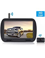 HD Digital Wireless Backup Camera System 5 Inch TFT Monitor for Trucks,Cars,SUVs,Pickups,Vans,Campers Front/Rear View Camera Super Night Vision Waterproof Easy Installation