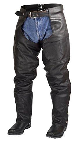 Leather Chaps Pants Motorcycle (Men Women Plain Motorcycle Biker Cowhide Leather Chaps Pants Black (4XL))
