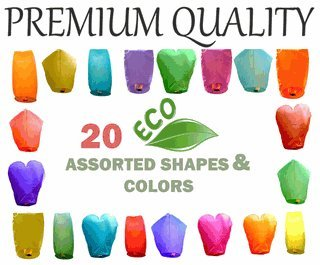 Just Artifacts 20 Assorted PREMIUM ECO Wire-free Color/Shape Flying Sky (Floating) Lanterns - 100% BIODEGRADABLE - Environmentally Friendly - (Set of 20)