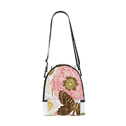 hombro de mariposas estampado aisladas con correa Bolsa escuela el la para de ajustable y para almuerzo con Alinlo pincnic floral x80qS61UWw