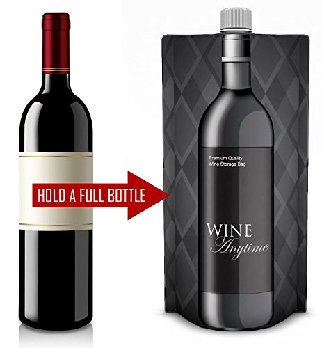 Portable Foldable Wine Bottle (2 Pack) - Holds a Full Bottle of Wine (750 ml) - Flex, Fold & Roll Plastic Wine Bag Flask for Red and White Wine - Wine Accessories and Gifts