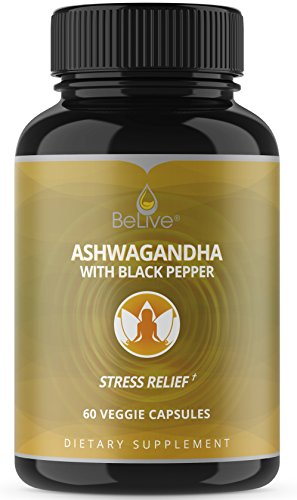 Ashwagandha Capsules for Women and Men: Stress & Anxiety Relief, Adrenal Support, Thyroid Support, Testosterone Booster, Vegetarian Friendly Organic Pills - 60 Veggie Caps