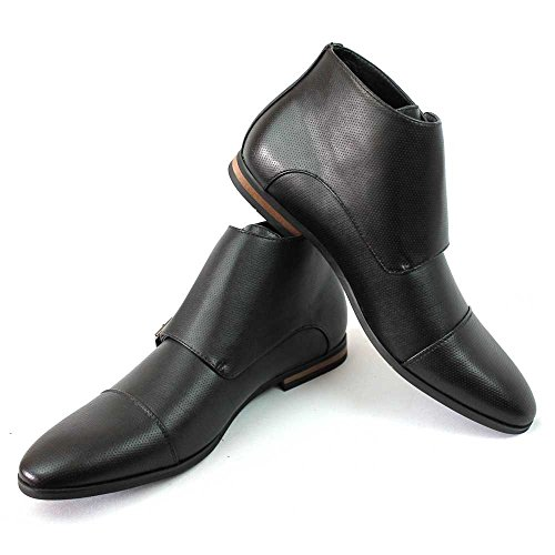 Mens Cap Toe Dotted Monk Strap Dress Boots Double Buckle Azar Black e7hXy