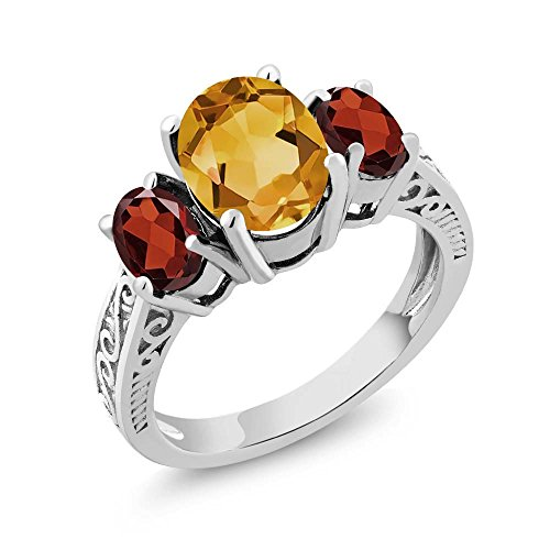Gem Stone King 925 Sterling Silver Oval Yellow Citrine & Red Garnet 3-Stone Ring 2.25 Ctw (Size ()