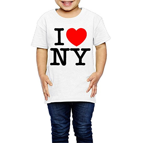 SSEE Kids Boy's & Girl's I Love NY New York Logo Cute T Shirts Size 3 Toddler White