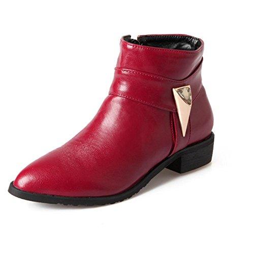 Rosso antiusura a basso a red cinghia 39 H corti gomma nero H resistente tacco diamanti scarpe di marrone beige fibbia allusura punta TFxnwBY