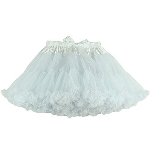 Buenos Ninos Women's Chiffon Petticoat 2 Layered Ballet Dance Pettiskirt Mini Skirt Free Size XL White -