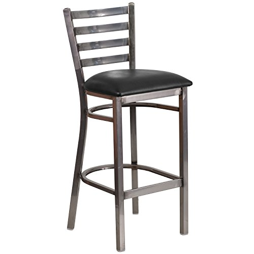 Flash Furniture HERCULES Series Clear Coated Ladder Back Metal Restaurant Barstool - Black Vinyl Seat - Clear Metal Bar Stool