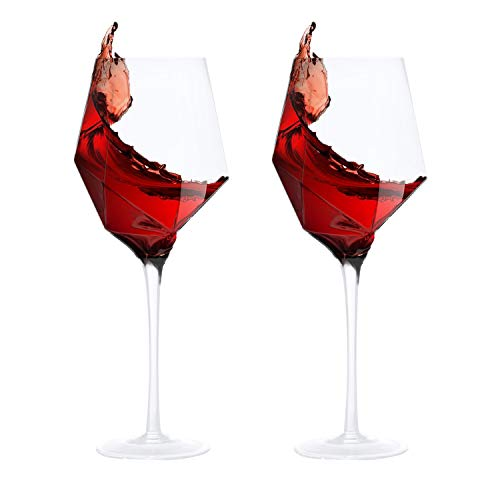 (Red Wine Glasses Bordeaux Wine Drinking Diamond Modelling Wedding Gifts Christmas Party Laser Cut Rim Lead-Free Elegant Party Drinking Glassware 22oz(Set of)