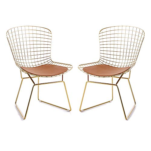 HOMEFUN Dining Kitchen Bertoia Wire Side Chair Guest/Reception Chair (Set of 2),Gold,with Seat -
