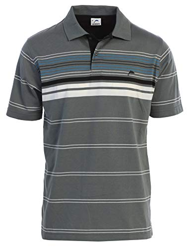 Gioberti Mens Slim Fit Striped Short Sleeve Polo Shirt, Charcoal with Dolphin Logo, Size 2XL