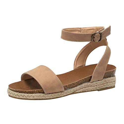 Women's Open Toe Ankle Wrap Braid Strap Cute Espadrille Flat Sandals Shoes Beige