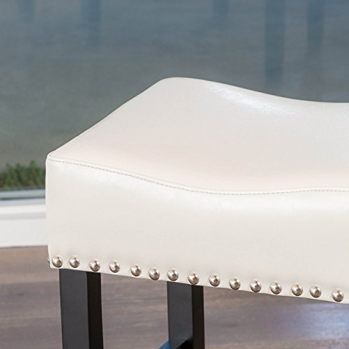Chantal Backless Ivory Leather Counter Stools w/ Chrome Nailheads (Set of 2)