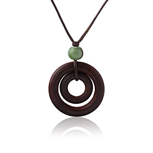 mics Bead Long Double-circle Pendant Rope Chain Wood Necklace ()