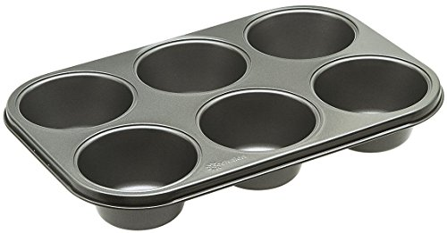 """Ecolution Bakeins XL 6 Cup Muffin and Cupcake Pan - PFOA, BPA, and PTFE Free Non-Stick Coating - Heavy Duty Carbon Steel - Dishwasher Safe - Gray - 12.375"""" x 8.25"""" x 2"""""""