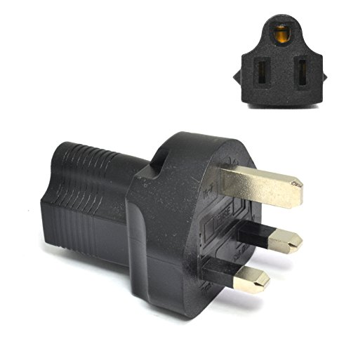 Price comparison product image Ceptics UK, UAE, Hong Kong BS-1363 Travel Power Plug Adapter Accepts NEMA 5-15R - ETL Certified - Industrial Grade (IG-7)