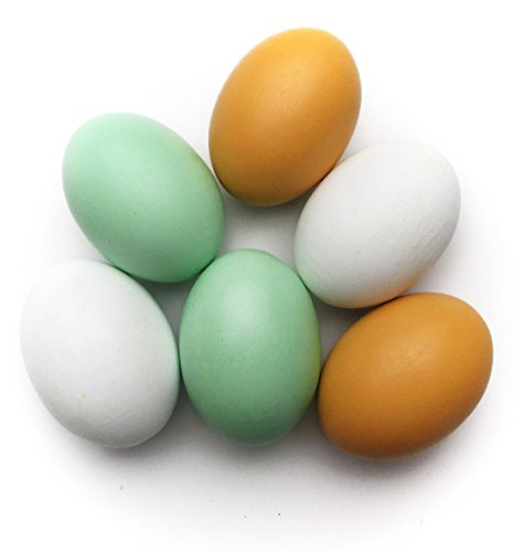 Miraclekoo Easter Eggs Wooden Faux Fake Eggs,6 Piece
